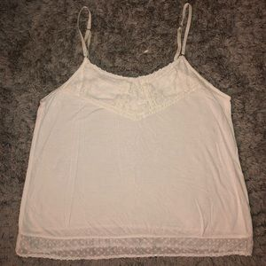 Cream Flowy Tank with Lace